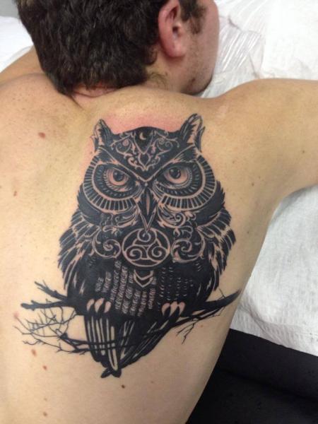 Back Owl Tattoo by Hyperink Studios
