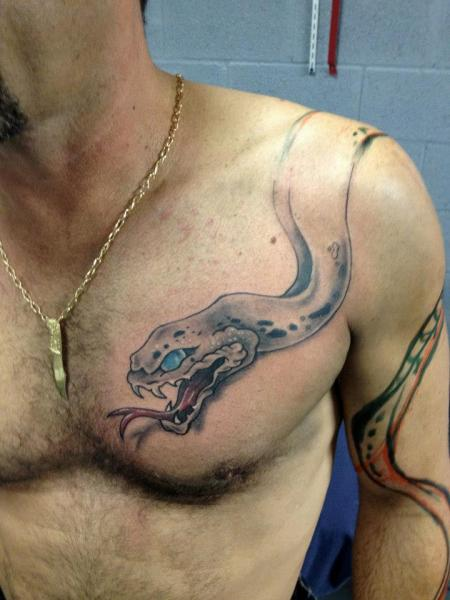 Shoulder Snake Chest Tattoo by Hyperink Studios