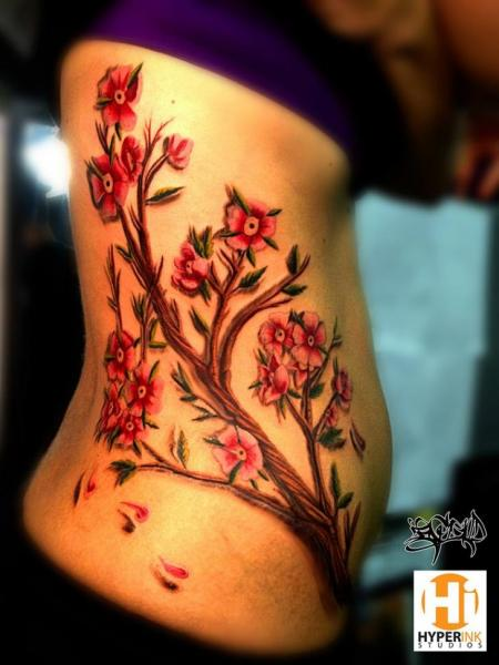 Flower Side Cherry Tattoo by Hyperink Studios