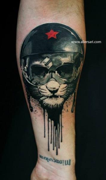 Arm Fantasy Cat Helmet Tattoo by Ali Ersari