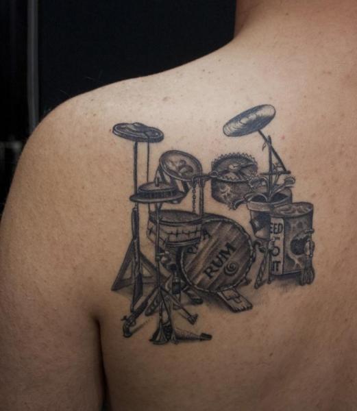 Shoulder Drum Tattoo by Ali Ersari