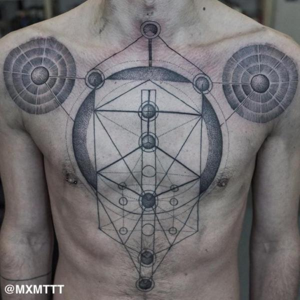Chest Dotwork Abstract Tattoo by MXM