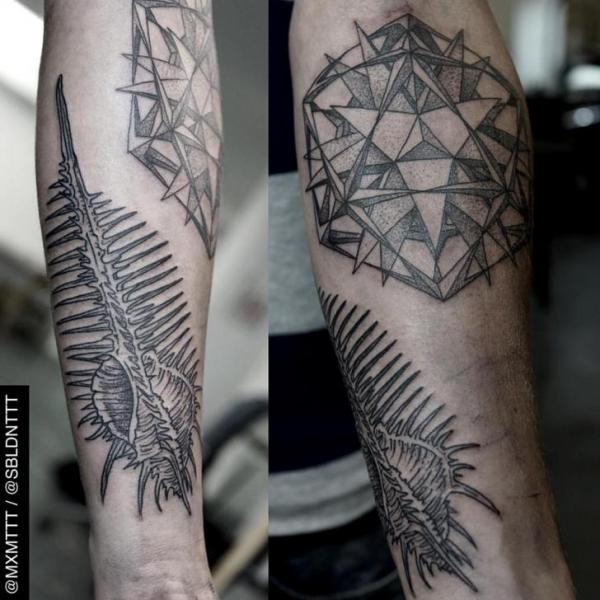 Arm Dotwork Skeleton Abstract Tattoo by MXM