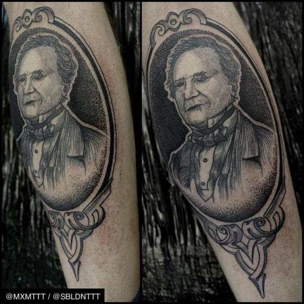 Arm Portrait Dotwork Medallion Tattoo by MXM