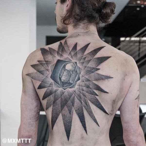 Back Dotwork Diamond Abstract Tattoo by MXM