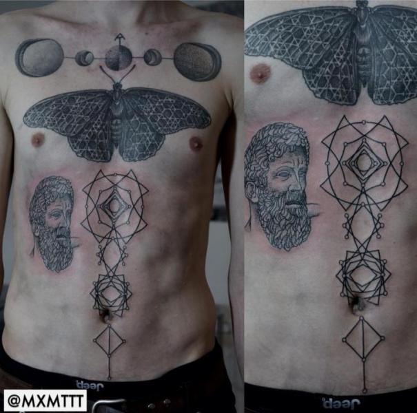 Chest Belly Dotwork Moth Abstract Tattoo by MXM