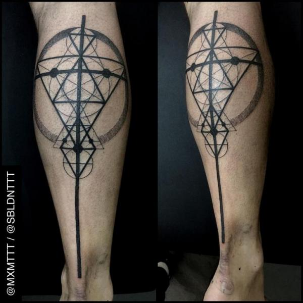 Bein Dotwork Abstrakt Tattoo von MXM