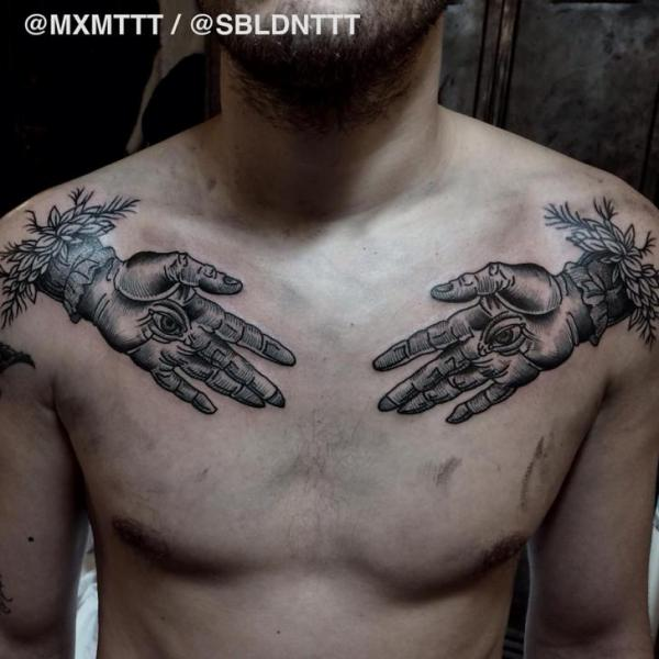 Shoulder Hand Dotwork Tattoo by MXM