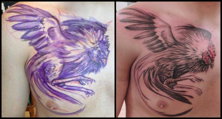 Realistic Chest Rooster Tattoo by Firefly Tattoo