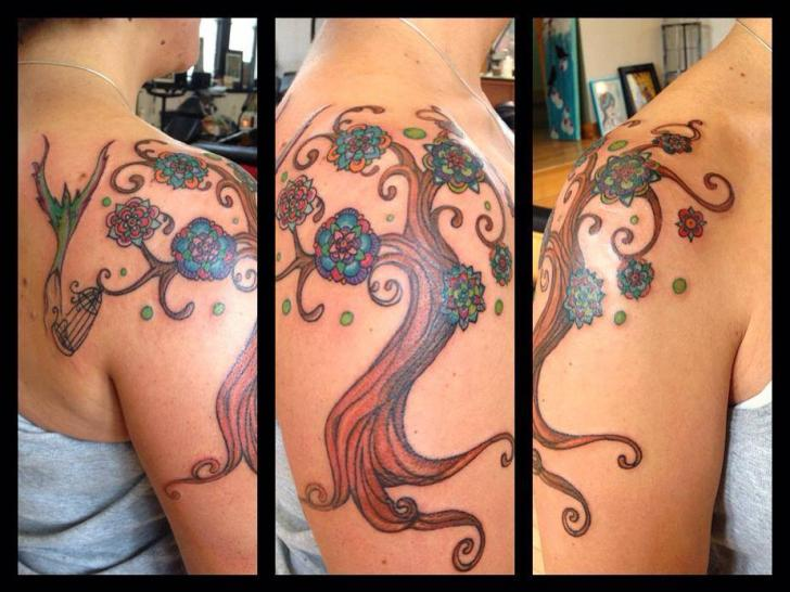 Shoulder Fantasy Tree Tattoo by Firefly Tattoo