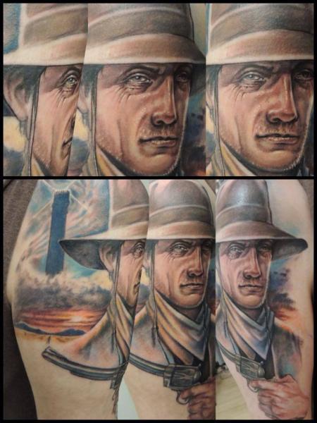 Shoulder Portrait Realistic Gun Hat Tattoo by Firefly Tattoo