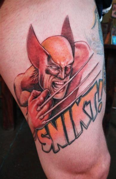 Fantasy Hero Thigh Tattoo by Firefly Tattoo