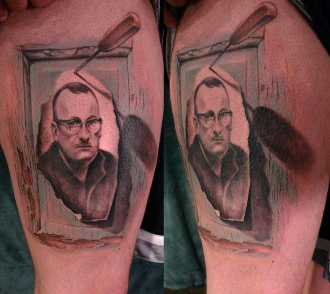 Portrait Realistic Thigh Tattoo by Firefly Tattoo