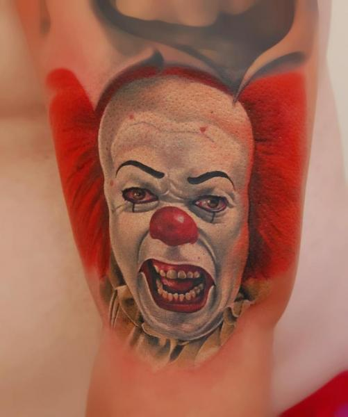 Arm Fantasy Clown Tattoo by Peter Tattooer