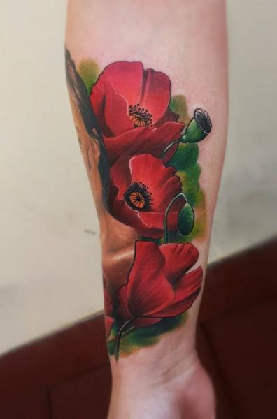 Arm Realistic Flower Tattoo by Peter Tattooer
