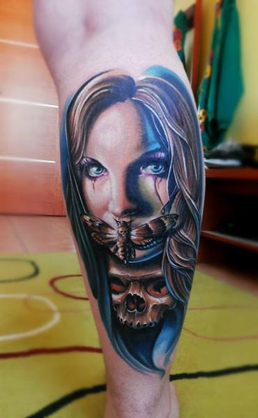 Calf Skull Women Moth Tattoo by Peter Tattooer