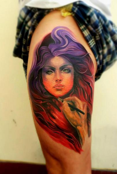 Schulter Fantasie Frauen Tattoo von Peter Tattooer