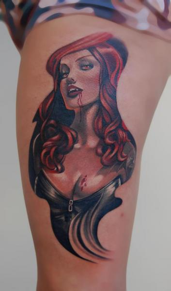 Fantasy Vampire Thigh Tattoo by Peter Tattooer