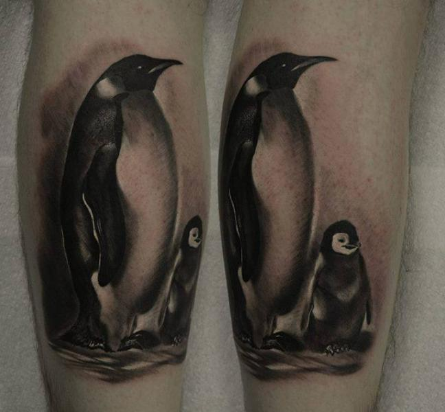Arm Realistic Penguin Tattoo by Rock n Roll