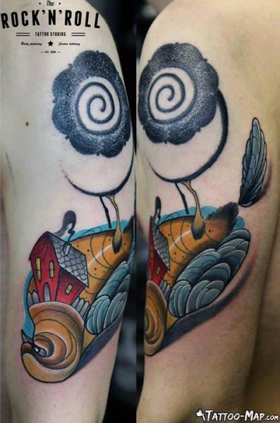 Shoulder Fantasy House Tattoo by Rock n Roll