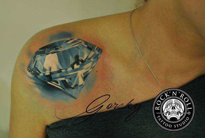 Shoulder Realistic Diamond Tattoo by Rock n Roll