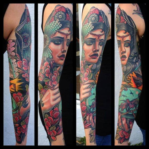 New School Sleeve Tattoo by Rock n Roll