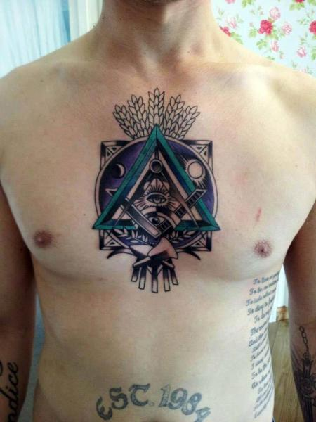 Chest Abstract Tattoo by Tattoo B52