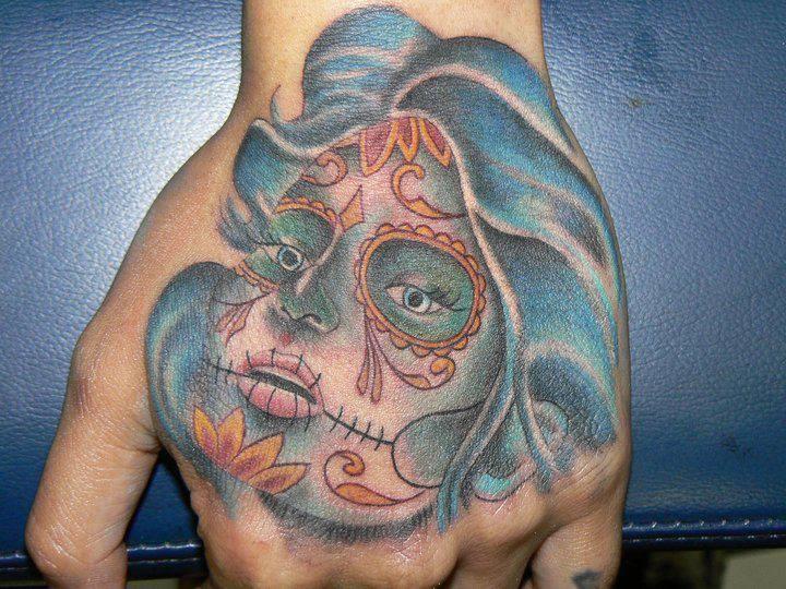 Hand Sugar Skull Tattoo by Tattoo B52