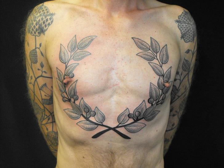 Brust Dotwork Blatt Tattoo von Kreuzstich Tattoo