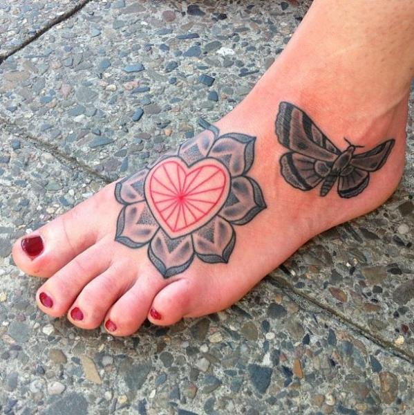 Foot Heart Flower Dotwork Moth Tattoo by Kreuzstich Tattoo