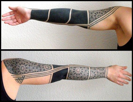 Tribal Dotwork Sleeve Tattoo by Kreuzstich Tattoo