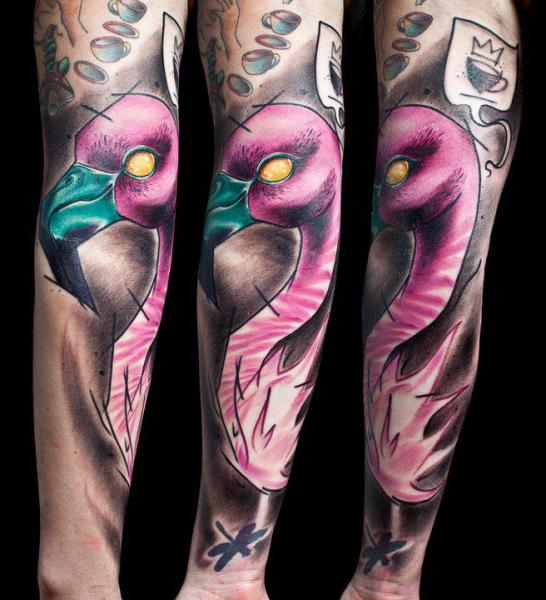 Arm Flamingo Tattoo by Mark Halbstark
