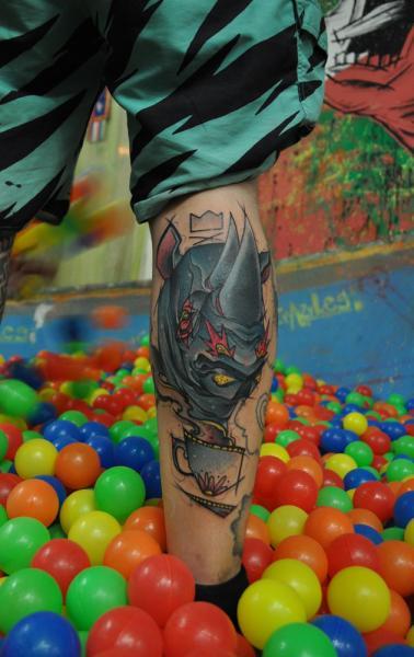 Calf Rhino Tattoo by Mark Halbstark
