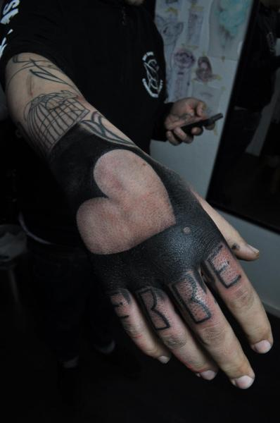 Heart Lettering Hand Tattoo by Mark Halbstark