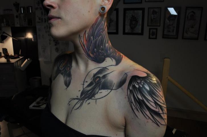 Shoulder Neck Wings Crown Tattoo by Mark Halbstark