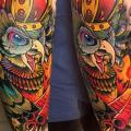 Arm Owl Crown tattoo by Endorfine Studio