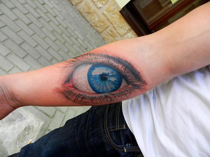 Arm Realistic Eye Tattoo by Endorfine Studio