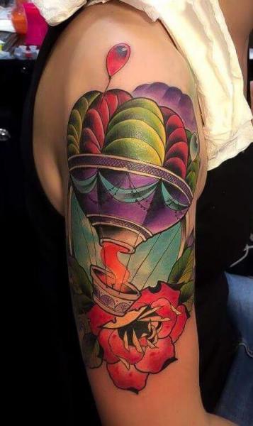Shoulder Arm Flower Baloon Tattoo by Endorfine Studio