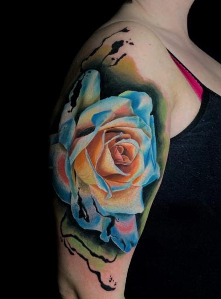 Shoulder Arm Flower Rose Tattoo by Endorfine Studio