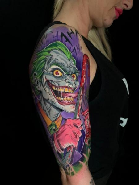 Shoulder Arm Joker Tattoo by Endorfine Studio