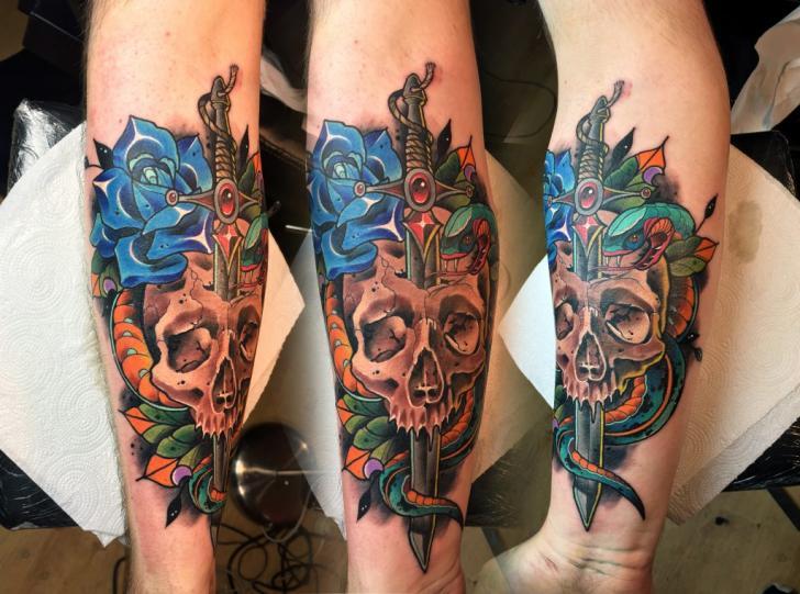 Arm Snake Flower Skull Dagger Tattoo by Endorfine Studio