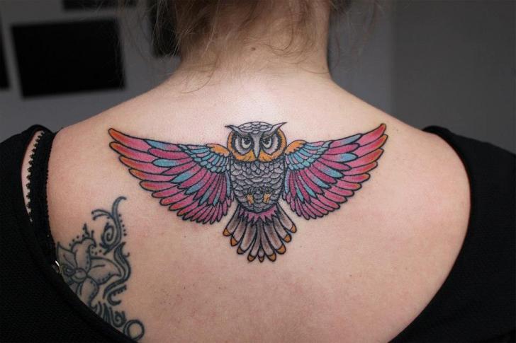 Back Neck Owl Tattoo by Endorfine Studio
