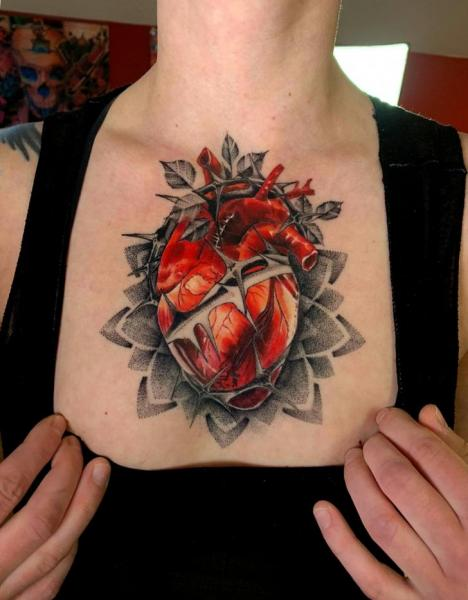 Heart Breast Tattoo by Endorfine Studio