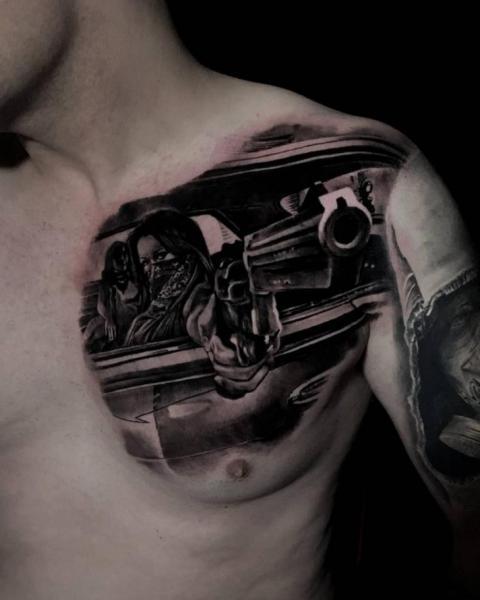 Chest Gun Tattoo by Endorfine Studio