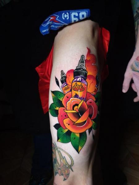 Leg Flower Dagger Tattoo by Endorfine Studio