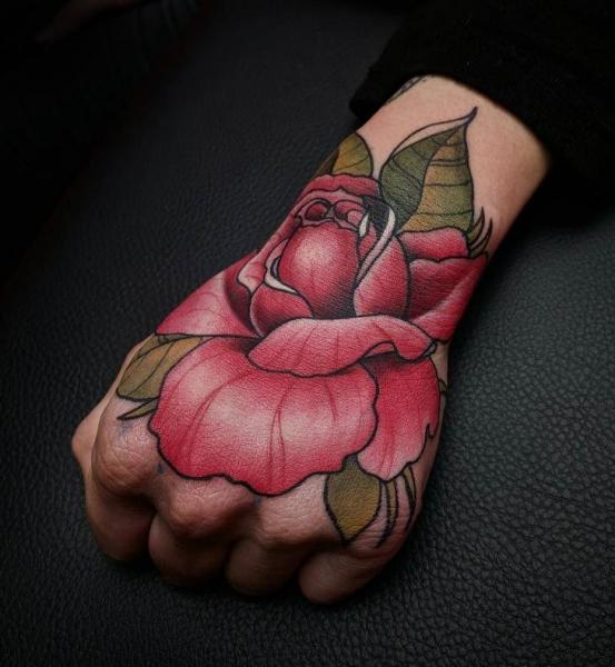 Flower Hand Rose Tattoo by Endorfine Studio
