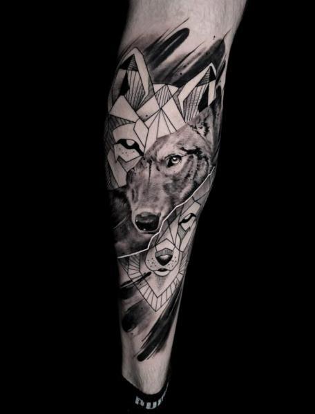 Leg Wolf Tattoo by Endorfine Studio