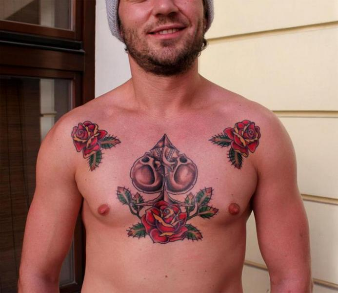 Chest Old School Rose Ace Spades Tattoo By Endorfine Studio