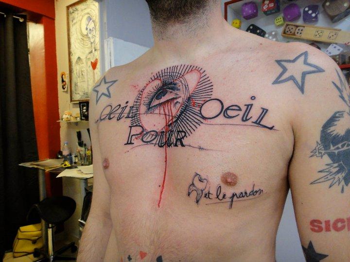 Chest Lettering Eye Tattoo by Xoïl