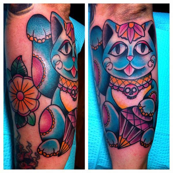 Tatuaggio Braccio New School Gatto di Alex Strangler